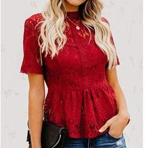 IONIA Lace Crochet Blouse